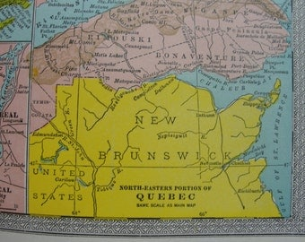 Map original vintage 1911 Ontario and Quebec
