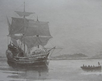 Sepia Print The Mayflower in Plymouth Harbor 1911