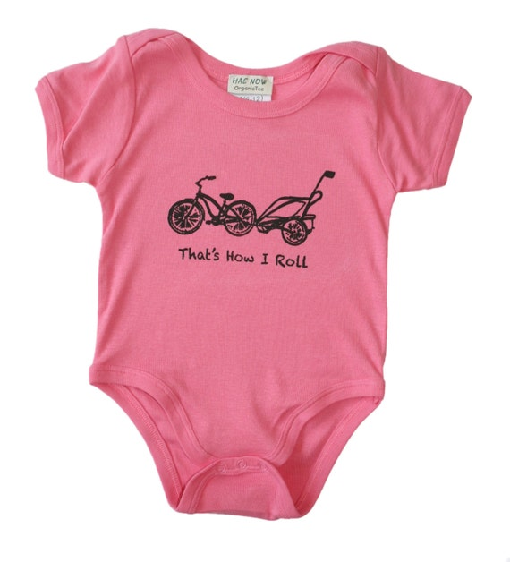 Cruiser Bike and Chariot Organic Pink Bodysuit SHORT Sleeve-  bicycle and That's How I Roll- Baby Clothes Eco 0 6 12 months