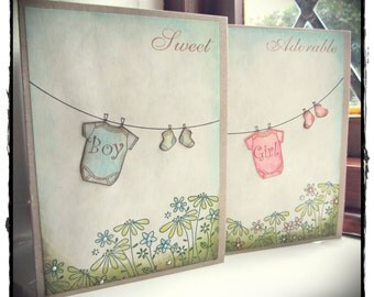 Hand made very sweet new baby cards for boy or girl.