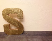 "12"" Gold Glitter Paper Mache Letter"