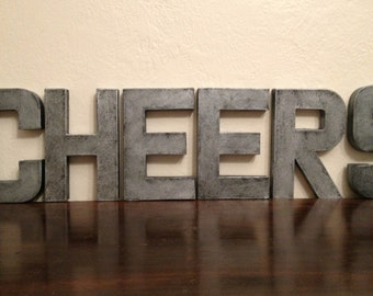 """Faux Metal Letters - 8"""" CHEERS Sign"""