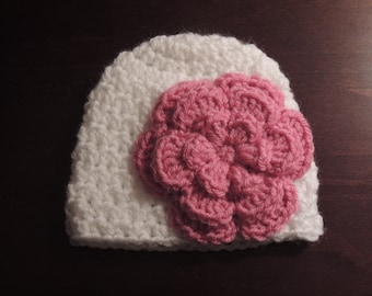 Crochet Baby Flower Beanie