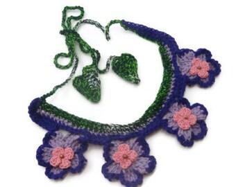 Violet Blossom Necklace, Crochet Bib Necklace, Fiber Necklace, Green Leaves Necklace, free form