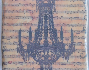COASTERS - French Distressed Chandelier and Sheet Music Coasters, Vintage Style Porcelain Tile Coaster Set