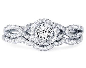 Diamond .70CT Infinity Engagement Ring Wedding Band Set Matching Crossover 14 Karat White Gold