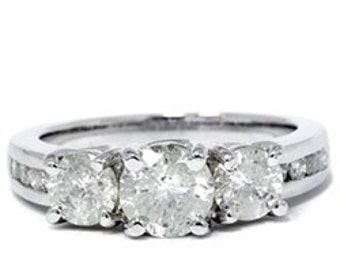 2.00CT 3 Stone Round Diamond Engagement Anniversary Past Present Future 14K White Gold Ring Size 4-9