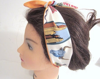 Tie Up Reversible Headband Route 66 fabric Pin Up Hair/ Pin Up Style / Hair Scarf