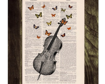 Summer Sale Butterfly collage Vintage Book Print Butterflies over cello collage Print on Vintage Dictionary art BFL083