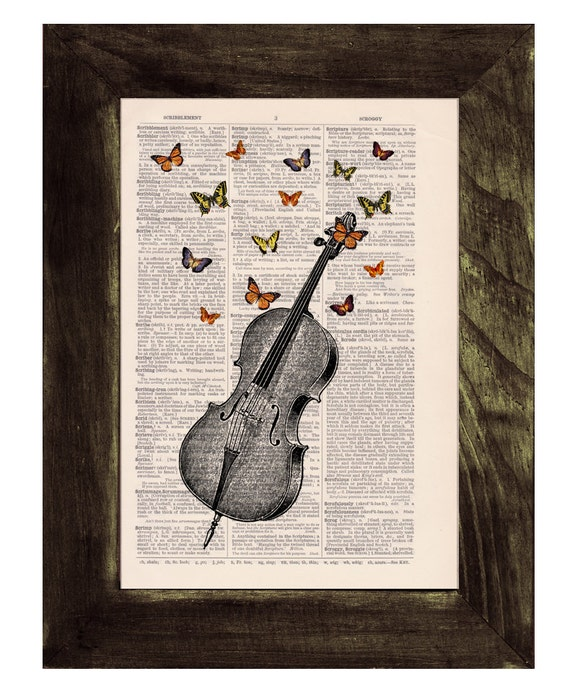 Butterfly collage Vintage Book Print Butterflies over cello collage Print on Vintage Dictionary art BFL083