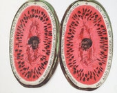 Black Americana Victorian Trade Card / Dye Cut Watermelon Folded Paper / Chromolithography / Paper Ephemera