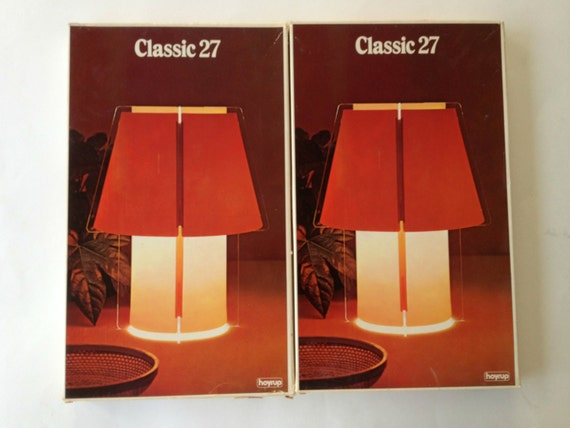 "2 Danish Modern Lights / 14"" Tall Table Lamps / Lars Schioler for Hoyrup / Flat Pack Lamps / Heavy Acrylic and Vinyl"