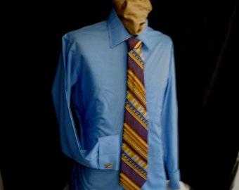 "60s 15 1/2"" French Cuff Men's Spread Big Collar MacPhergus Blue Shirt & Kleins Tie"