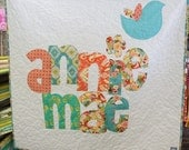 The Original Personalized Quilt 50 x 50, Baby Quilt, Raw Edge Applique Quilt, Name Quilt