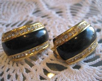 Vintage Christian Dior Onyx and Rhinestone Earrings