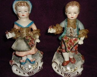 2 Avis California Dresden Figurines Boy and Girl with Roses Marie & Edmond