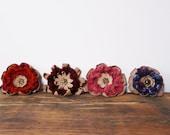 Leather Crocheted Brooch Flower Brooch CHOOSE ONE