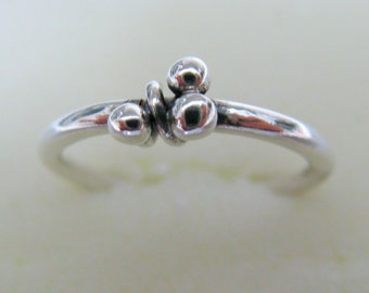 Bridesmaids Jewelry - Sterling Silver Trio Dewdrop  Ring - Handmade Jewelry - Eco Friendly Ring