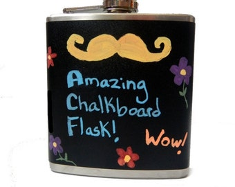 Chalkboard Vinyl Flask- liquor, wedding, bridal party, hip pocket