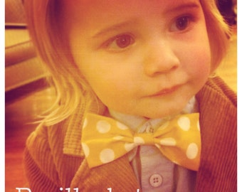 Baby Toddler Kid Bow Tie or Hair Bow Yellow with White Polka Dots