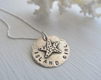 Island Girl Starfish Necklace,surf jewelry,beach jewelry- artisan handmade starfish,hand stamped, sterling silver metalsmith jewelry