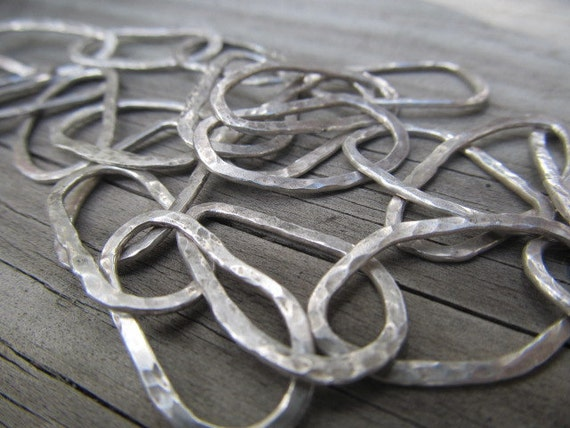 Forged Link Chains : Artisan hand forged large link sterling silver metalsmith