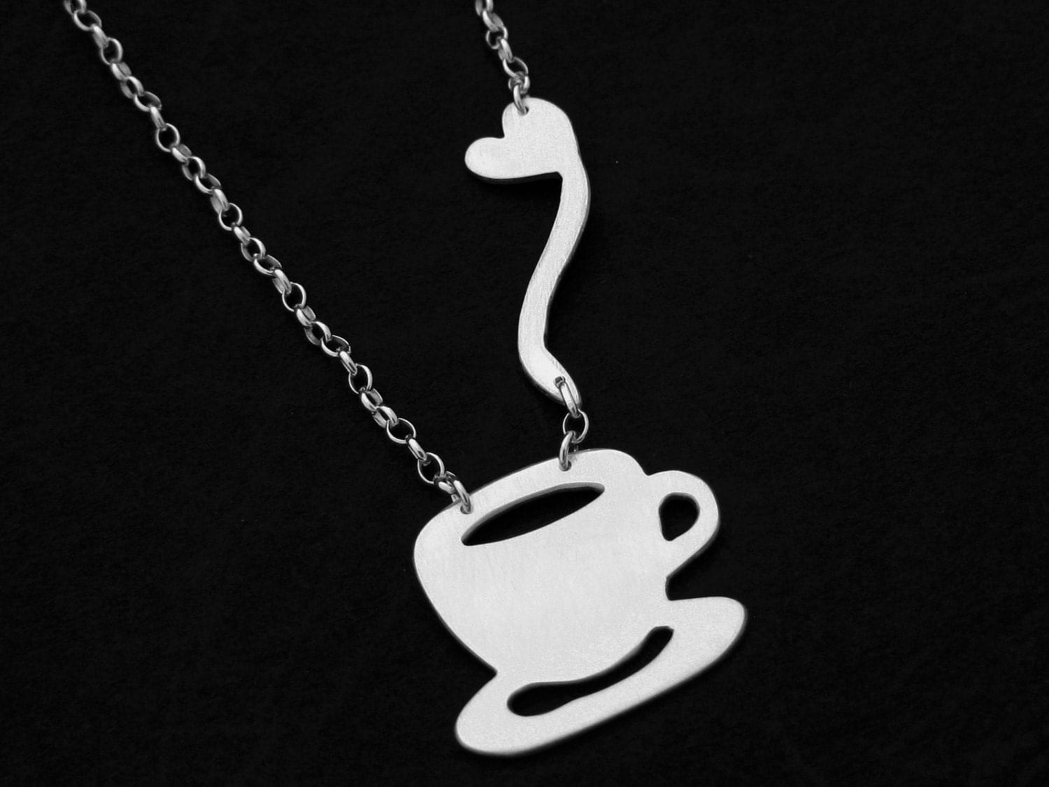 coffee necklace silver coffee jewelry coffee cup necklace