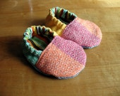 Wrap Scrap Baby Shoes - Girasol Light Rainbow - Made to Order