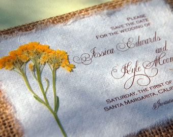 Burlap Save The Date Basket of Gold- Rustic Save the Date Wedding Cards  SAMPLE