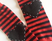 Valentine's Day Baby Leg Warmers Striped Heart Baby Leg Warmers: Red and Black