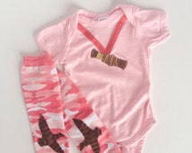 Camouflage Duck Call Hunting Pink One Piece with PInk Camo Baby Leg Warmers Girl