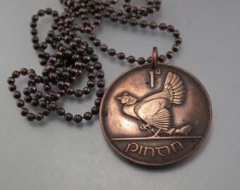 Hen and Chicks Jewelry. Bird Pendant. Ireland Coin Celtic Jewelry Ireland. Ireland Pendant Necklace  - choose year No.00915