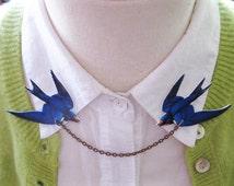 Pretty Love Birds Brooch Blue Swallow Double Collar Pin