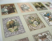 Alice In Wonderland Stickers, Postage Stamp Stickers  - Set of 80