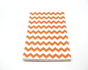 "Orange Chevron Medium Paper Gift Bags, 5"" x 7.5"", Set of 10"