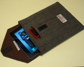 Tablet case with padded Harris Tweed cover and Phone pouch