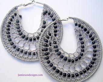Grey and Black Crochet Beaded Bohemian hoop earrings