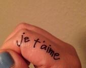 Temporary Handwritten Je T'Aime Tattoo