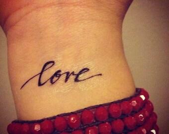 Temporary Handwritten Love Tattoo