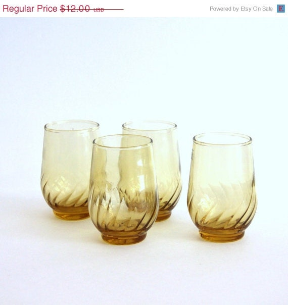 Half Price Clearance 4 Sunshine Yellow Vintage Juice Glasses