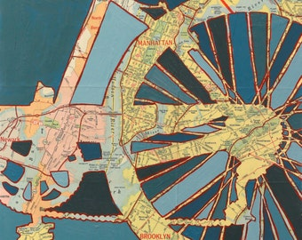 Bike New York City print  -  bike art print featuring New York City, Manhattan, Brooklyn, Central Park