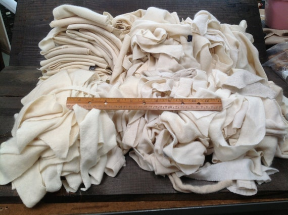 Custom for Lynda K. - Recycled Cashmere Remnants - White Off White  6lbs