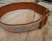 Tooled Leather Belt with Vintage Pastel Tapestry