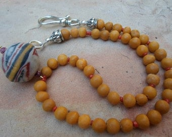 Choker Necklace  of Yellow Marble with Vintage Bead Pendant
