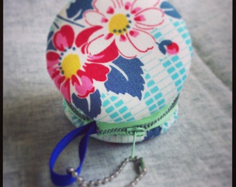 Floral Macaron Purse in Blues and Reds with Vintage Metal Zipper