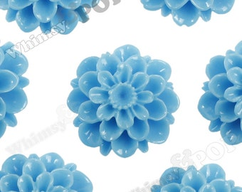 20mm - Sky Blue Dahlia Chrysanthemum Flower Cabochons, Flower Cabs, Large Chrysanthemum Flatbacks, Mum Shaped, Mum Cabochons (R2-086)