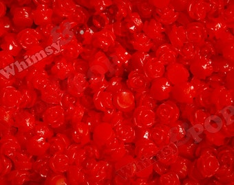 7.5mm - Cherry Red Teeny Tiny Rose Resin Cabochons, Tiny Flower Cabochons, Flower Cabs, Tiny Flatback Roses, 7.5mm  (R3-042)