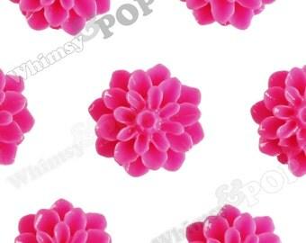 15mm - Hot Pink Chrysanthemum Flower Cabochons, Dahlia Flatbacks, Mum Shaped, (R3-103)