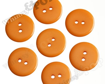 25 - Orange Buttons for Sewing Scrapbooking and More, 23mm Buttons, Sewing Buttons, 2 Hole Buttons, Colorful Kids Craft Buttons (R2-120)
