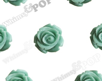 Open Bud Sea Green Rose Cabochons, Rose Flower Cabochons, Flower Cabs, 15mm x 7mm (R2-137)